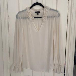 J Crew ruffle neck silk blouse